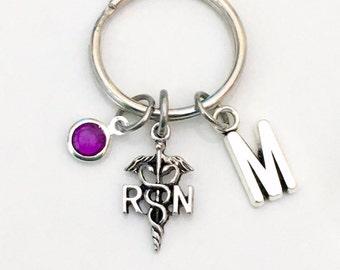 Personalized Gift for RN Nurse Key Chain Registered KeyChain, Nursing Keyring, Medical Caduceus symbol charm initial letter birthstone her