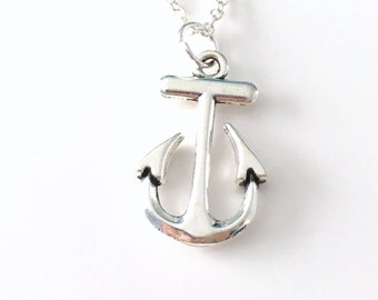Anchor Necklace, Gift for Marine Present, Navy Officer Wife Jewelry, Silver Anchor Charm, Sailor Sailing Boating Boat Fisherman Master 173