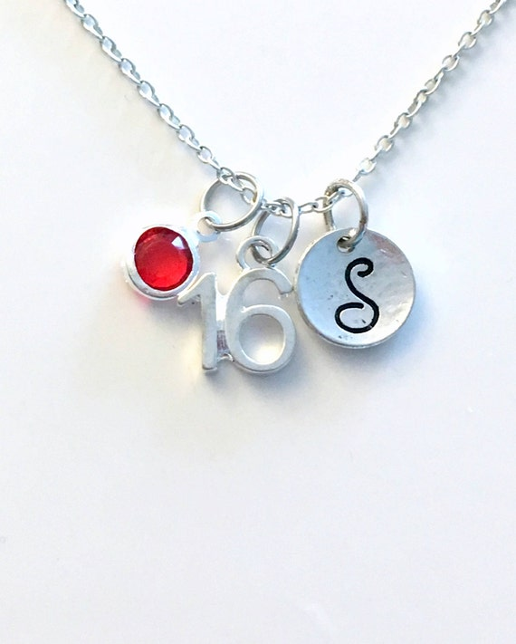 16th Birthday Necklace Number Jewelry Silver Charm Pendant