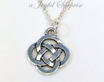 Celtic Knot Jewelry, Silver Circle Knot Necklace Gift for Dad or Mom Man Woman Men, Pewter Charm, Pendant, Wedding Favor Irish Symbol Boy
