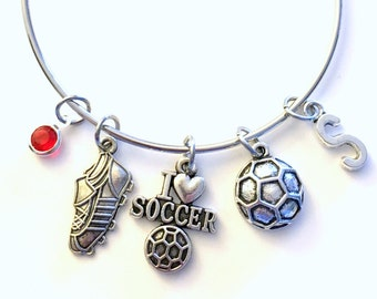 Soccer Bracelet, I love Soccer Jewelry, Charm Bangle Sneaker Cleat Ball Team Silver initial Gift for Teenage Daughter Teen Girl birthstone