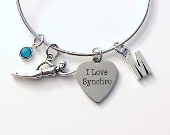 Synchronized Swimmer's Bracelet, I love Synchro Swimming Swim Jewelry Charm Bangle Silver initial Gift for Daughter Teen Girl birthstone