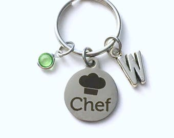 Gift for Chef Keychain, Culinary Hat Key Chain, Student Graduation Retirement Grad Keyring Initial Birthstone present women cooking cook her