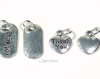 Thank you Charm, Add on to any of my listings, Heart Oval Thanks Pendant, Silver Pewter Gift Keychain thank you necklace Jewelry Man Boy