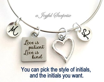 Love is Patient Love is Kind Bracelet, Bride Gift, Wedding Jewelry, Newly Wed Anniversary Gift Silver Charm Bangle with 2 Initials letter