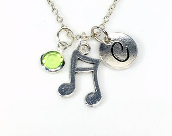 Music Note Necklace, Silver Musician's Jewelry, Silver Gift for Band Friend Present, Double initial birthstone Teenage Daughter Son Teen her
