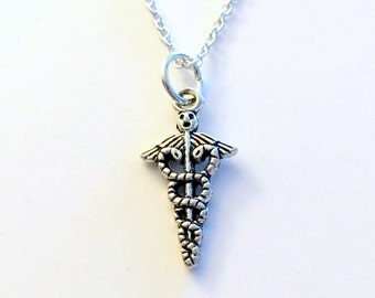 Caduceus Jewelry, Medical Necklace, Silver Charm Emblem Symbol Pendant, Gift for Vet Veterinarian Assistant Nurse Doctor Student RN Lab Tech