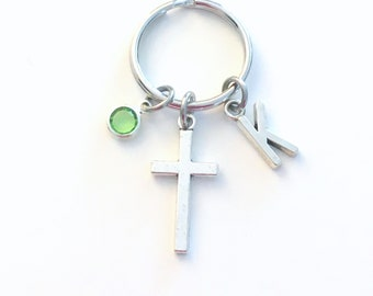 Gift for Confirmation Keychain, Cross Key Chain, Baptism Keyring Crucifix, Personalized Initial Birthstone birthday present Religious girl