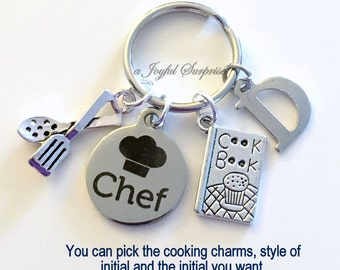 Chef Keychain / Gift for Culinary Student Present / Chef's Key Chain / Pastry Chef Keyring / Silver Baking Cooking Charm / Graduation Grad