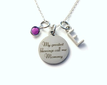 Gift for Mommy Necklace, My greatest blessings call me Jewelry Mother's Day Present, from kids son daughter children quote Canadian Seller