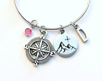 Mountain Bracelet, Compass Jewelry, Hiking Keyring, Gift for Climbers Traveler Letter initial her Birthstone Birthday Present wander women