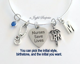 LPN Charm Bracelet, Personalized Gift for LPN Nurses Gift, Nurse's silver Bracelet, LPN Jewelry, initial Letter, Nurses Save Lives present