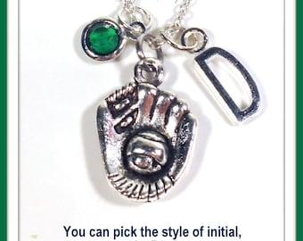 Baseball Glove Necklace, Softball Jewelry, Initial Birthstone, Silver Base Ball, Soft Bat Player Birthday Present Gift for Teenage Boy Girl
