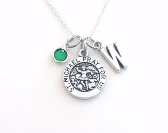 St. Michael Necklace for Women or Men / Girl or Boy, Saint Gift Son Daughter Jewelry charm him her religious medallion Archangel catholic