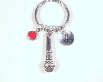 Microphone Keychain, Singer's Key chain, Performer's Keyring, Theater Gifts Singer Charm Jewelry, birthstone initial Silver Pewter her him