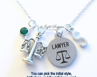 Lawyer Necklace, Law School Jewelry, Justice Scales Gift for Judge, charm Personalized Custom Initial Birthstone birthday Christmas present
