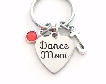 Gift for Dance Mom Keychain, Dancemom Keyring Dancer's Key Chain, initial birthstone planner charm purse charm personalized engraved custom
