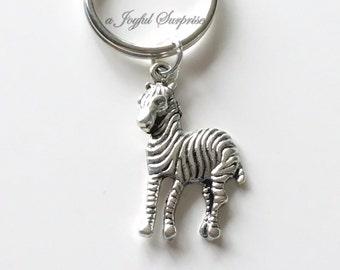 Zebra Key Chain, Animal Keychain Striped Zebra Keyring, Zebra Purse Charm Planner Charm Jewelry birthday present Christmas Gift silver