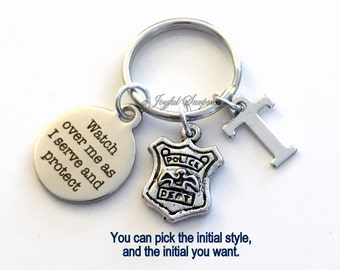 Police Officer Gift for Him or Her, Policeman Keychain, Policemen Key Chain Watch over me as I serve and protect Dept Emblem Initial Letter