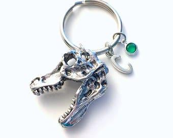 Dinosaur Keychain, Gift for Teenage Daughter, Teen Girl Teenager Keyring, Boy Key chain Initial letter Birthday present women her him animal