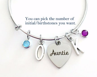 Gift for Auntie Jewelry, Charm Bracelet from Niece Nephew Aunt 2 letters Bangle Pendant initial Birthstone Birthday Christmas Present New