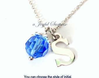 Bridesmaids necklace, Birthstone Jewelry, You choose the Color Initial 10mm Crystal Dangle Charm Gift for Birthday December Zircon Tanzanite