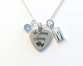 In Loving Memory Necklace, Sympathy Jewelry, Gift for memorial, Loss of family, Silver Sympathy heaven religious charm son daughter mom dad