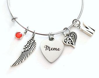 Guardian Angel Meme Charm Bracelet, Memorial Loss of Grandmother Jewelry bangle Silver Angel Wing letter Nana Mimi Grandma Grammy Granny Mom