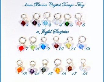 Birthstone Charm, Bead charm, Add on a birthstone to any listing, birthstone 4mm bicone crystal, birthstone dangle