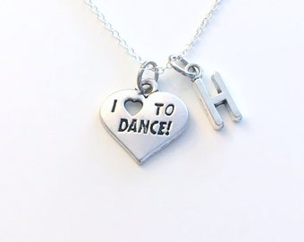 I love to Dance Jewelry, Dancer's Necklace, Heart Charm, Gift for Dancing Teacher, Birthday Present, Recital Present for daughter or son