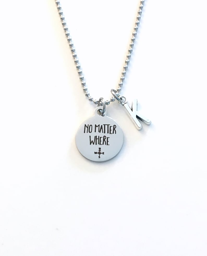 No Matter Where Jewelry College University Graduation Present Boy from Father Mother Mom Dad Parents love Going away Gift for Son Necklace