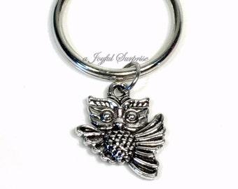 Flying Owl Keychain, Owl Purse Charm Planner, Birthday Present Christmas Gift, Night Owl Keyring, Silver Charm Key Chain Pendant boy girl