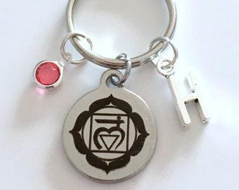 Muladhara Root Chakra Keychain, First 1st Kundalini Gift for Chinese Medicine Healer Present Key Chain initial keyring birthstone yoga charm