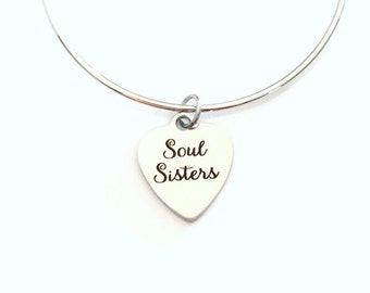 Soul Sisters Charm Bracelet, BFF Jewerly, Gift for Best Friend, Heart Charm Bangle Silver or Stainless Steel present girl Women non tarnish
