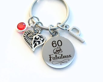 Gift for Sixty Birthday Keychain, 60 and Fabulous Key Chain 60th her Birthstone Initial Present Jewelry Mother Women Age Mom Best Friend him