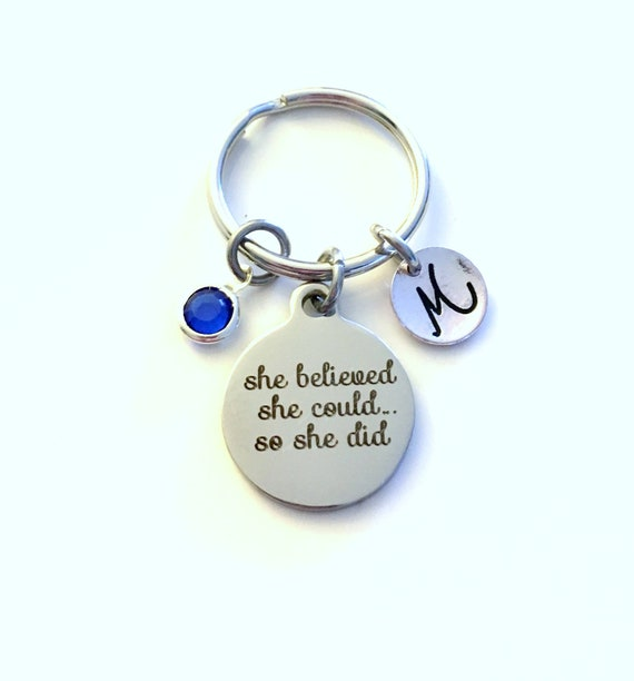 SO SHE DID KEYRING BAG CHARM STAR ACHIEVEMENT GIFT /& bag SHE BELIEVED SHE COULD