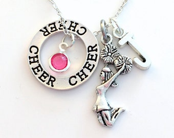 Cheer Necklace, Gift for Cheerleader Present, Cheerleading Jewelry, Circle Silver Charm initial letter birthstone Teen Girl Coach child lady