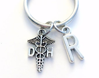 Gift for DH Keychain, Dental Hygienist Assistant Key chain Caduceus Keyring Coworker Initial letter, Dentist Orthodontist Women Men Him Her