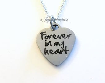Sympathy Gift, Loss of Husband Wife, Forever in my Heart for Memorial Necklace Jewelry Charm Stainless Steel Non Tarnish Charm engraved