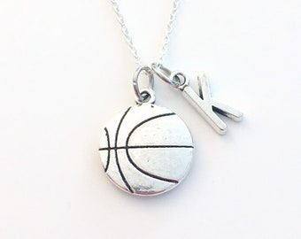 Basketball Necklace for Men / Boy, Sports Basket Ball Player Gift for Son Daughter Jewelry silver charm him her athlete