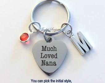 Much Loved Nana KeyChain Gift for Grandmother Nanna Keyring Key chain Initial Birthstone birthday Christmas present purse charm planner