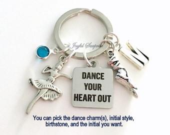 Ballet Dance Keychain, Ballerina Key Chain Silver Slipper Shoe Dancer Keyring Dancing Gift Jewelry charm Dance Your Heart Out Custom present