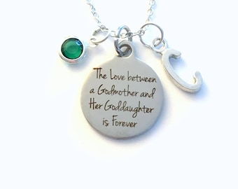The Love between a Godmother and Goddaughter Necklace, Gift for God Mother Jewelry Baptism Present Birthstone initial her from Daughter girl