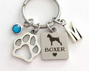 Boxer KeyChain Breeder Key Chain Gift for Dog Mom Keyring Doggie Puppy Jewelry charm Silver Initial Birthstone present Man woman Women Men