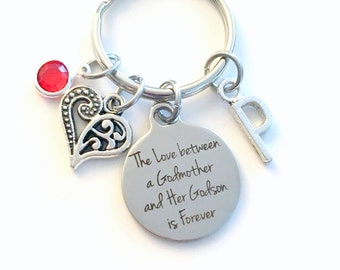 Gift for God Mother or Son Keychain, The Love between a Godmother and Godson is Forever, Key Chain Birthstone Initial Present Jewelry him