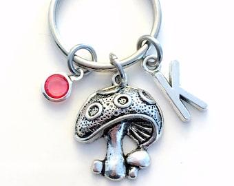 Mushroom KeyChain, Silver Plant Keyring Nature Key Chain Gift For Teen Jewelry Letter birthstone initial custom purse planner charm Woodland
