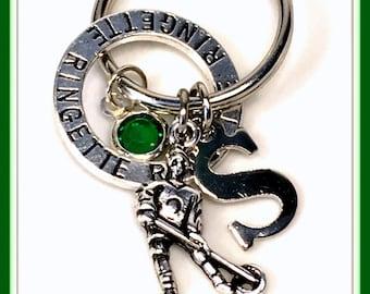 Ringette Key Chain, Personalized Ringette Keychain, Silver Team Player Keyring, Gift for Ringette Coach Present, Letter Initial Custom Charm