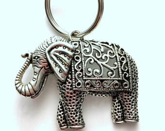 Large Elephant Keychain, Animal Key Chain, Strength and Friendship Gift Keyring, Pewter Pendant, Ancient Zoologist Birthday Present Nature