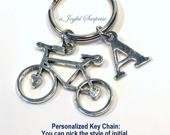 Bicycle Keyring, Cyclist Keychain, Personalized Biker Key chain, Gift for bicyclist present, Triathlete Triathlon with Initial letter bike