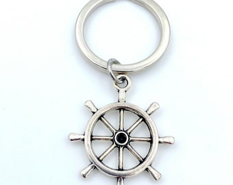 Ship Wheel Keychain, Marine Key Chain, Boat Helm Keyring, Nautical Gift for Sailor, Silver Boater Boat Men Women Marine Dad uncle fisherman